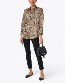 Helene Berman - Camel and Black Leopard Printed Blouse
