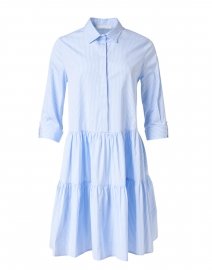 Blue and White Striped Cotton Poplin Shirt Dress