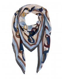 Blue and Beige Saddle Printed Silk Cashmere Scarf