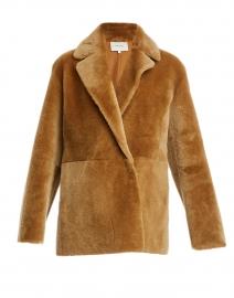 Camel Shearling Blazer Coat