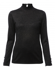Black Lurex Mock Neck Long Sleeve Sweater