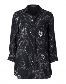 Black and White Etched Floral Cotton Shirt