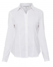 Jamie White Stretch Cotton and Jersey Knit Shirt