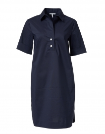 Aileen Navy Stretch Cotton Dress