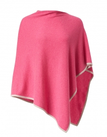 Berry Pink and Beige Cashmere Poncho