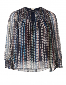 Murray Navy, Silver and Multi Argyle Print Blouse