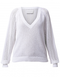 Ami Pointelle Lace Cotton Sweater