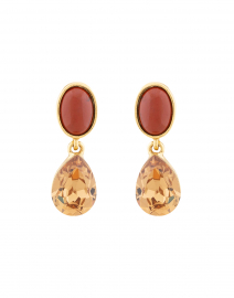 Gold Crystal and Jasper Stone Drop Earrings
