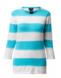 Azure Blue and White Striped Sweater with Buttoned Sleeves