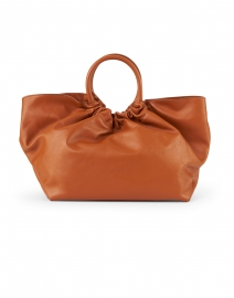 Los Angeles Deep Tan Smooth Leather Ruched Tote