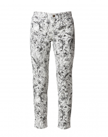 Pina White and Black Floral Super Stretch Ankle Jean