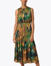 Lafayette 148 New York - Levana Emerald Multi Print Hammered Satin Dress