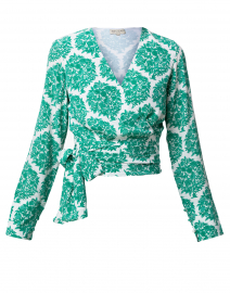 Gini Green and White Wrap Silk Top