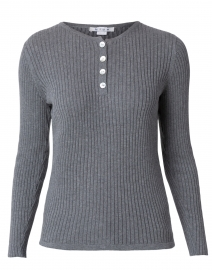Blue - Grey Ribbed Cotton Henley Top