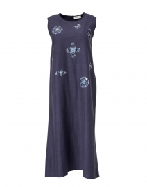 Anya Navy Embroidered Midi Shift Dress