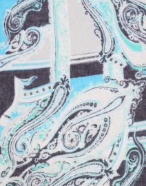 Pashma - Aqua and Navy Paisley Silk Cashmere Sweater