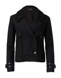 Black Boucle and Faux Leather Jacket