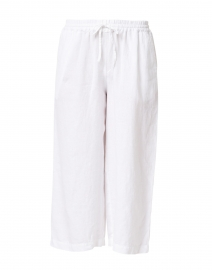 White Drawstring Cropped Linen Pant