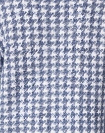 Amina Rubinacci - Effusione Blue and White Houndstooth Silk Cotton Cardigan
