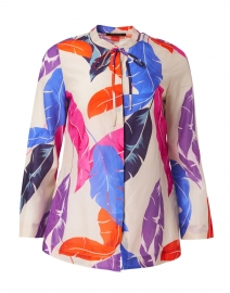 Darrien Feather Leaf Printed Cotton Silk Blouse