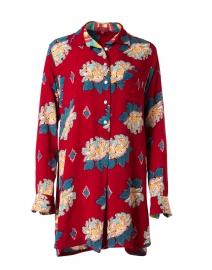 Ube Cherry Red Peony Printed Cotton Shirt