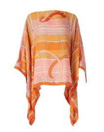 Orange Silk Cashmere Saddle Print Poncho