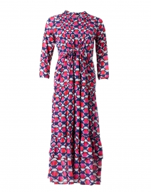 Bazaar Pink and Blue Geo Printed Cotton Voile Maxi Dress