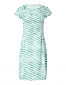 Green and White Tile Printed Stretch Cotton Dress