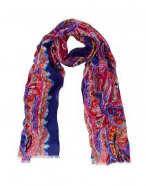 Bamosbis Purple Paisley Swirl Silk Modal Scarf