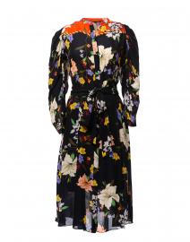 Leila Navy Floral Printed Silk Shirt Dress