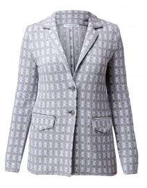 Dafne Grey and White Houndstooth Knit Blazer