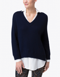 Brochu Walker - Midnight Navy Sweater with White Underlayer