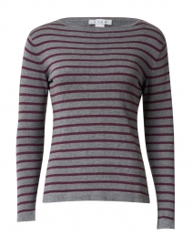 Grey and Bordeaux Fine Stripe Boatneck Sweater
