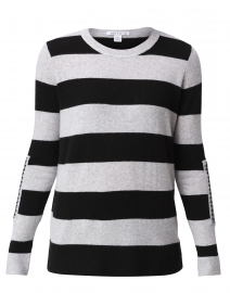 Grey and Black Striped Cashmere Sweater