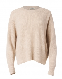 Beige Ribbed Cashmere Sweater