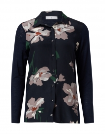 Navy Floral Print Wool Silk Shirt