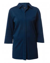 Wade Blue Stretch Cotton Button Down Shirt