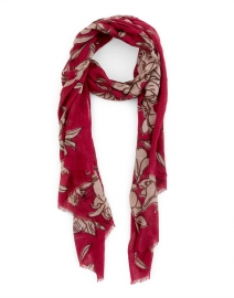 Burgundy Lily Printed Silk Wool Scarf