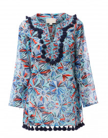 Blue and Red Firework Printed Cotton Tunic