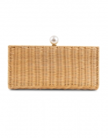 Pearl Natural Rattan Clutch with Raffia Side Panels
