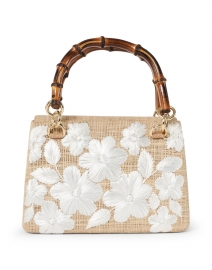 Leona Toast White Floral Embroidered Straw Top Handle Bag