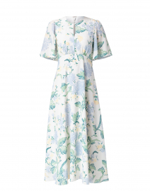 Gardenia Cream and Blue Floral Silk Dress