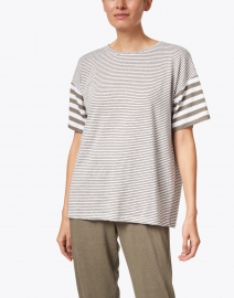 Max Mara Leisure - Garbo Green and White Striped Stretch Linen Top