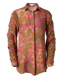 Rosa Autumn Leaves Print Silk Blouse