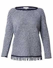 Navy and White Lattice Cotton Sweater