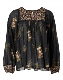 Flip Flop Black Floral Print Cotton Voile Top