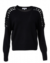 Black Macrame Sleeve Cashmere Sweater