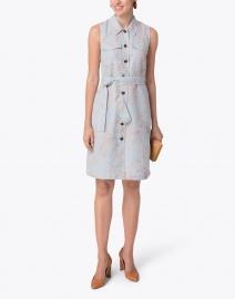 Lafayette 148 New York - Sonny Blue and Orange Floral Silk Linen Shirt Dress