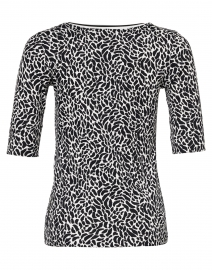 Marc Cain Sports - Black and White Animal Print Stretch Cotton Top