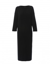 Febo Black Silk Wool Knit Maxi Dress